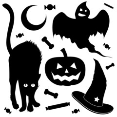 Halloween design elements silhouette set with ghost