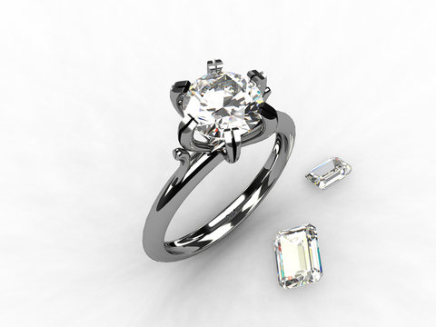 Platinum solitaire diamond ring - 3d