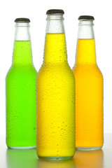Three cold drinks on white background