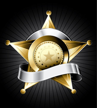 Golden sheriff badge design with a silver ribbon for text
