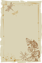 old paper with butterfly