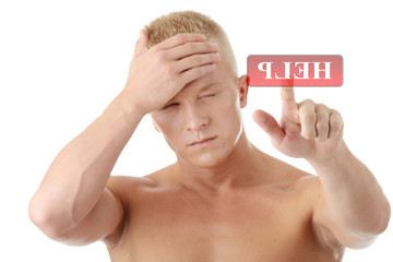 Men with headache or migraine calling for help