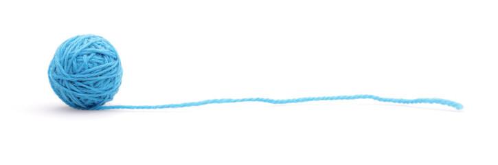 Blue woolen a thread on a white background