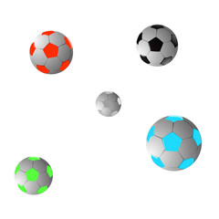 Five footballs. Vector illustration