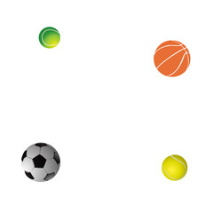 Four balls: two tennis, football and basketball. Vector