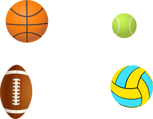 Four different balls.Vector illustration