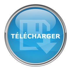"Bouton rond ""TELECHARGER"" (vecteur ; bleu)"