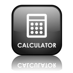 """Square vector """"CALCULATOR"""" button with reflection (black)"""