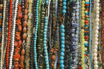 Colorful jewelry beads texture for background