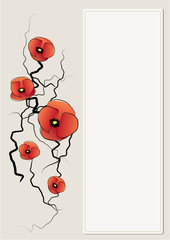 vector background with poppy flowers.