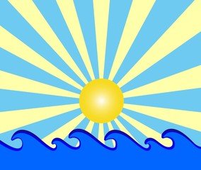 illustration of a sunny day with blue waves