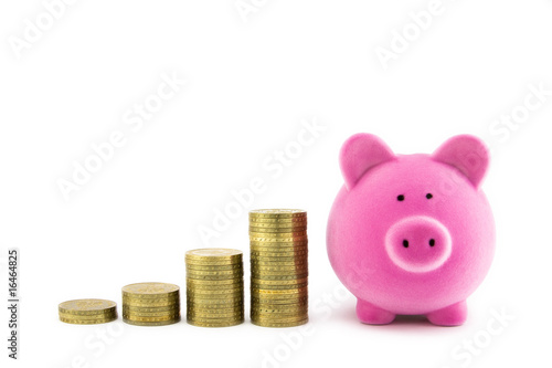 pink piggy bank and coins stock photo and royalty free. Black Bedroom Furniture Sets. Home Design Ideas