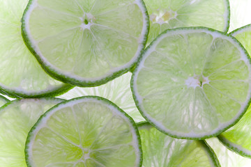 Backlit lime slices