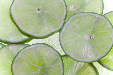 Backlit lime slices