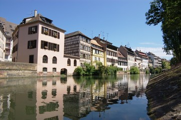 row of traditional Alsace houses in Strasbourg