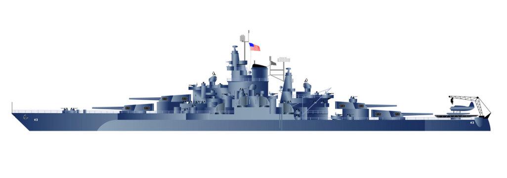 Detailed vector illustration of battleship Tennessy.