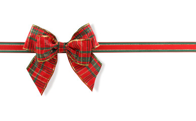 Red and green bow isolated on white background