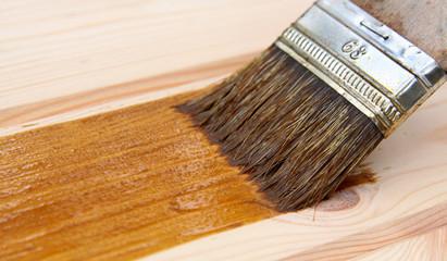 Varnish brush strokes on a