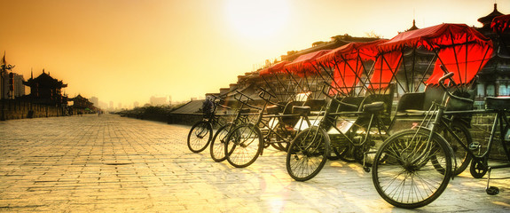 Xi'an / China  - Town wall with bicycles