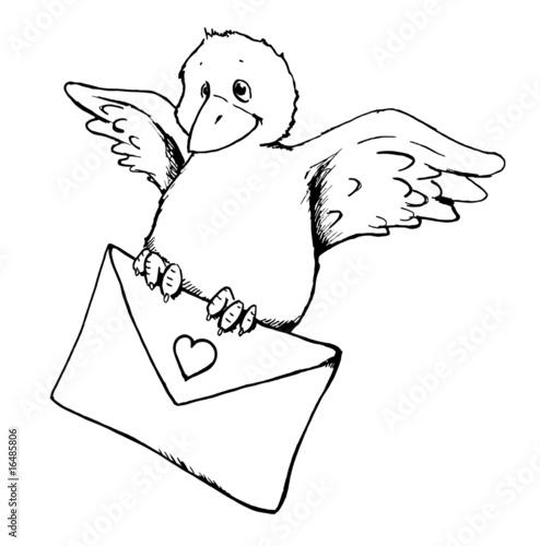 Vogel, Liebesbrief, Brief, Nachricht, Valentinstag