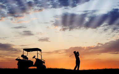 Poster Golf Silhouette of golfer with golf cart