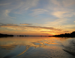 Sunset on Rio Negro in the Amazon River Brazil, South America