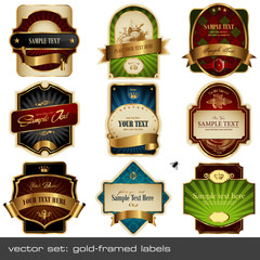 vector set: gold-framed labels - 9 items