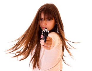 Young beautiful woman with revolver isolated on white