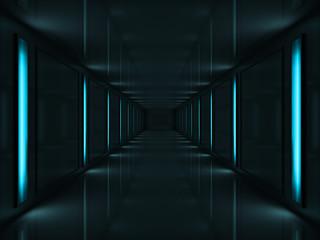 3d Dark corridor with blue lamps on walls