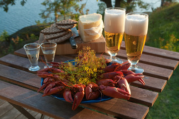 Table set for traditional swedish crayfish party