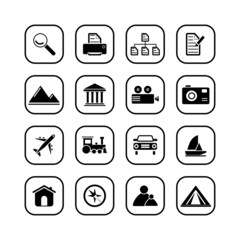 Photo and travel icons, B&W series