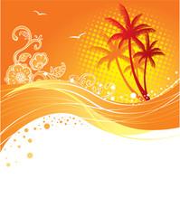 Palms banner, vector