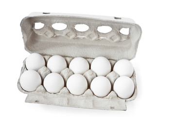 white eggs with carton box