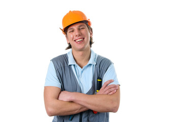 Smiling construction worker. Isolated.