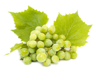 Grapes white with leafs