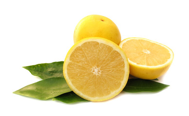 Grapefruits yellow with leaves