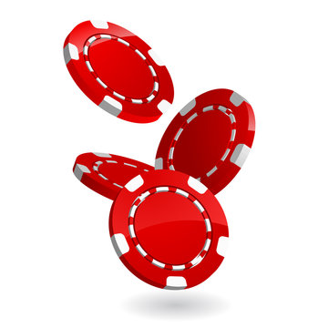 3d falling poker chips