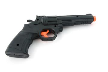plastic black play gun over white background