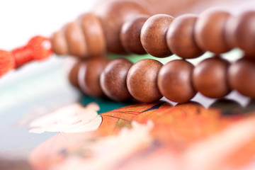 wooden beads are on the picture