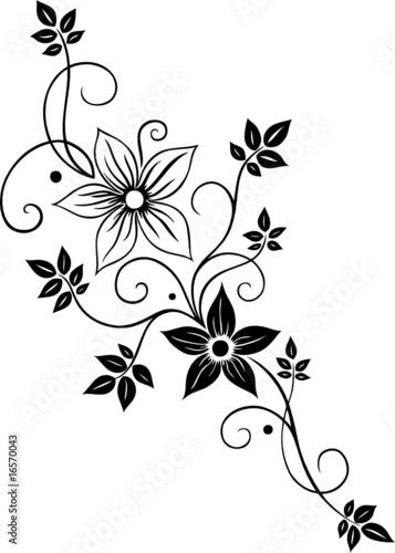 """""""blume ranke filigran floral mit blüten und blättern"""