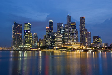 Wall Murals Shanghai SINGAPORE CITY EVENING SKYLINE