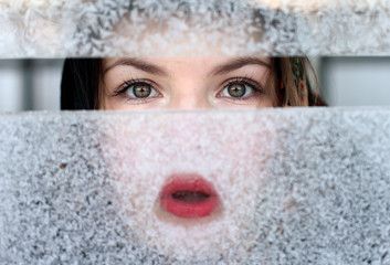 portrait of a girl for a frosty window