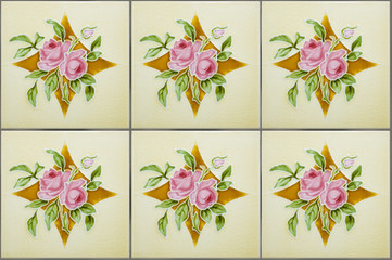 Antique Nyonya tiles with pink roses on a golden diamond
