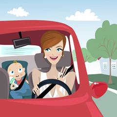 mother riding car and baby illustration
