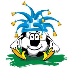 Poster Voor kinderen cheerful cartoon soccer ball in the cap fan with bells
