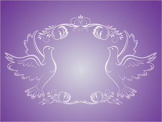Vintage wedding frame with doves