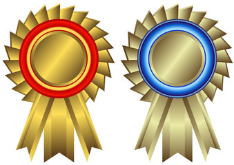 Set of golden and silvery awards (vector)