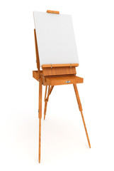 Wood french easel with blank white canvas isolated on background