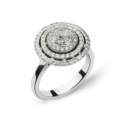 White gold ring with white diamonds for gift or marriage