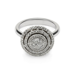 White gold ring with white diamonds for gift or marriage_2